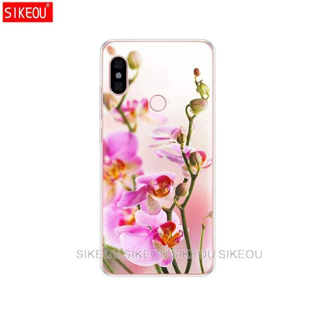 Silicone Cover Phone Case For Xiaomi Redmi S2 Y2 6 5 2 3 3s Pro PLUS Redmi Note 4 4X 4A 5A 6A Orchid Flowers Colorful