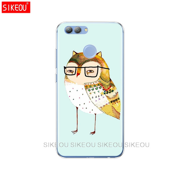 Silicone Phone Cover Case For Huawei Y3 Y6 Y5 2 II 2017 Nova 3e 2s 2 LITE Plus Animal Cute Cartoon Owl Diy Colorful Drawing