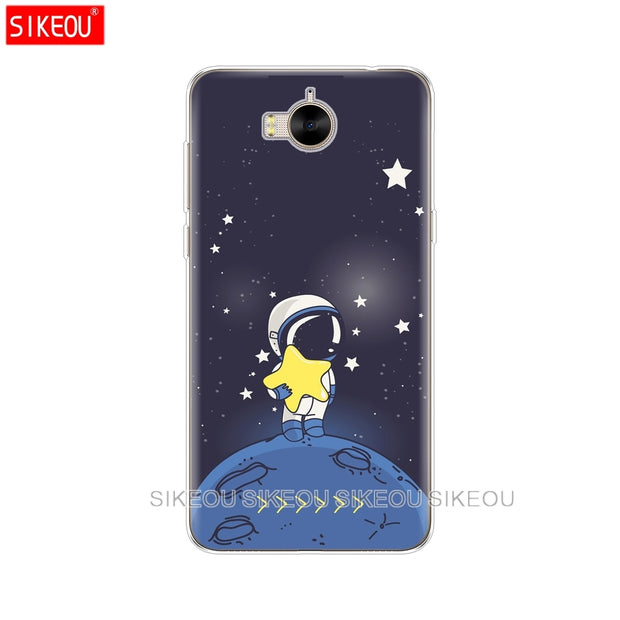 Silicone Phone Cover Case For Huawei Y3 Y6 Y5 2 II 2017 Nova 3e 2s 2 LITE Plus Space Love Sun And Moon Star Drawing