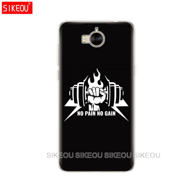 Silicone Phone Cover Case For Huawei Y3 Y6 Y5 2 II 2017 Nova 3e 2s 2 LITE Plus No Pain No Gain Gym And Fitness Quote