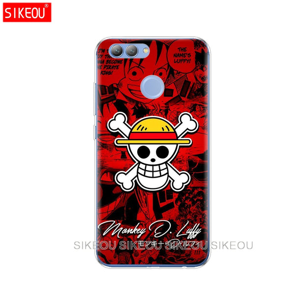 Silicone Phone Cover Case For Huawei Y3 Y6 Y5 2 II 2017 Nova 3e 2s 2 LITE Plus One Piece Pirates Logo Anime Cartoon