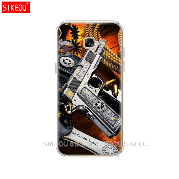 Silicone Phone Case Cover For Samsung Galaxy A6 A8 2018 A3 A310 A5 A510 A7 2016 2017 Weapons Rifle Guns Sniper Pistol Bullet