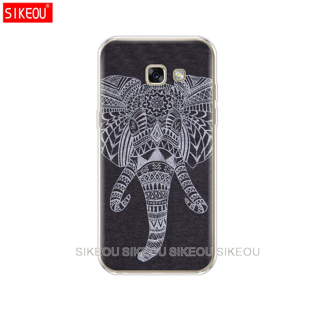 Silicone Phone Case Cover For Samsung Galaxy A6 A8 2018 A3 A310 A5 A510 A7 2016 2017 Totem Elephant Aztec Indian Flower