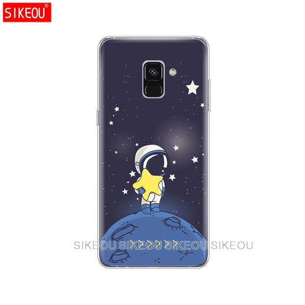 Silicone Phone Case Cover For Samsung Galaxy A6 A8 2018 A3 A310 A5 A510 A7 2016 2017 Space Love Sun And Moon Star Drawing
