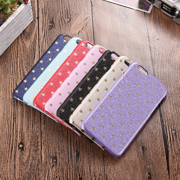 Silk Pattern Slim Soft PU Leather Star Case For IPhone 7 8 Plus Phone Back Cover Cases Luxury Coque Fundas For IPhone 6 6S Plus