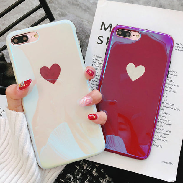 Simple Love Heart Silicone Case For IPhone X Case Cover IPhone 6 6S Plus Fitted Back Cover For IPhone 7 Coque IPhone 8 Plus Case