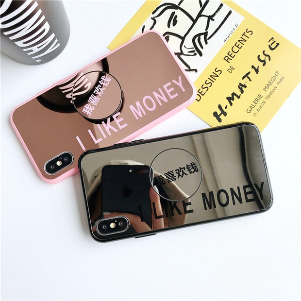 Smooth Wine Red Mirror Letter I Like Money Back Cover For IPhone XR XS Max X 6 6S 7 8 Plus Soft TPU Phone Case Bag With The Ring