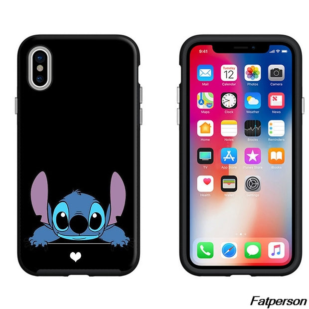 Snow White Case Black Soft Silicone TPU Case Lilo Stitch Coque Case For Iphone 6 6s 7 8 8Plus X 5s SE Mickey Minnie Cover Stitch