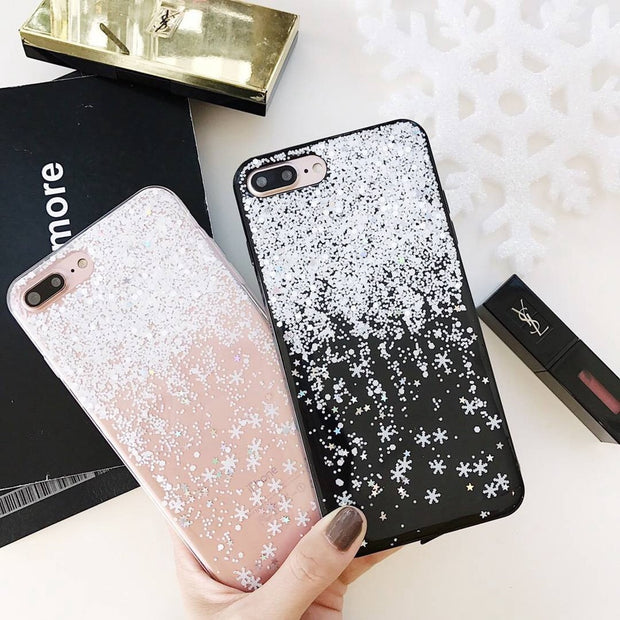 Snow Drifting Case For IPhone6 6s 78 Capa Epoxy Soft Transparent Glitter Snowflake Back Cover For IPhoneX Xs XR XsMAX TPU Coque