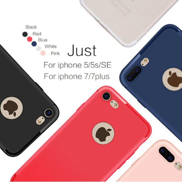 Soft Candy Color Matte Silicone Cases For IPhone 5 Case Luxury 5s 6s 7 Plus 6 Case Cover For IPhone 7 Case TPU Back Coque P25