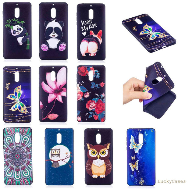 Soft Cover For Nokia 6 3D Relief Owl Panda Flower Black TPU Silicone Case Funda Coque For Nokia 6