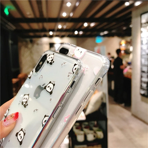 Soft Matte TPU Cover For IPhone 8 8 Plus Soft Silicone Cartoon Cute Panda Phone Case For Coque IPhone X 8 7 Plus 6s Plus Capa