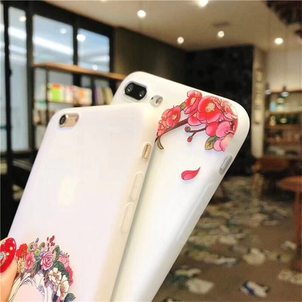 Soft Matte TPU Cover For IPhone 8 8 Plus Soft Silicone Cartoon Flower Girl Phone Case For Coque IPhone X 10 7 Plus 6s Plus Capa