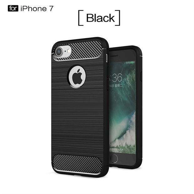 Soft Silicone Phone Cover For IPhone X 7 Cover TPU Carbon Fiber Case For IPhone X 7 7 Plus 6 6s 6 Plus 6s Plus 5 5s SE