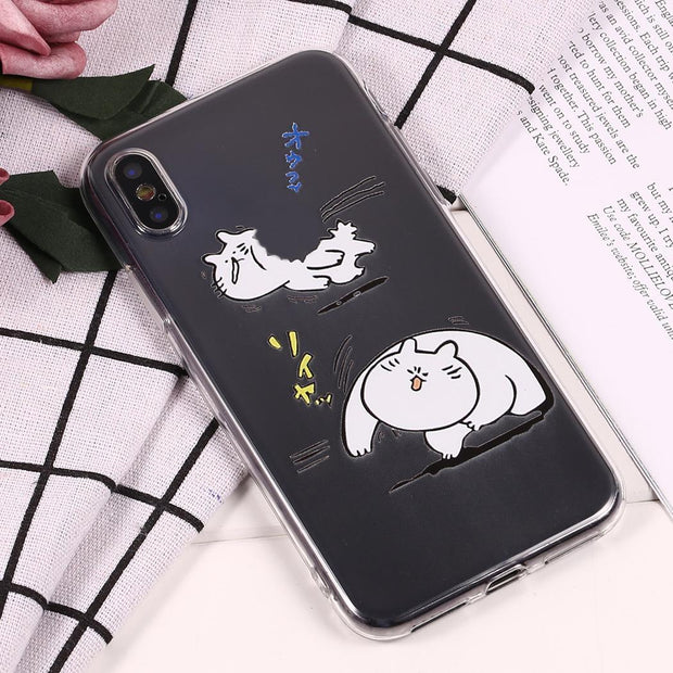 Soft TPU Cartoon Cat Clear Case Cover For IPhone 6S/ IPhone 7/ IPhone 8/ IPhoneX 1 X Dust Proof Shockproof Back Fitted