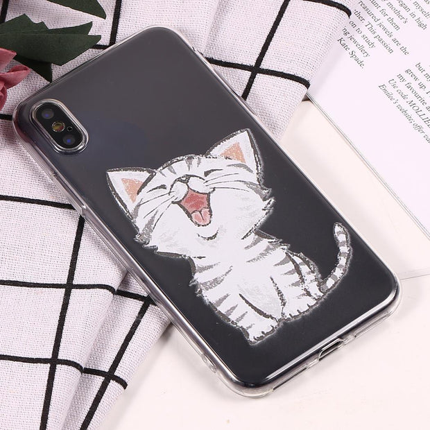 Soft TPU Cartoon Cat Phone Case Cover For IPhone 6S/ IPhone 7/ IPhone 8/ IPhoneX 1 X Dust Proof Shockproof Back Fitted