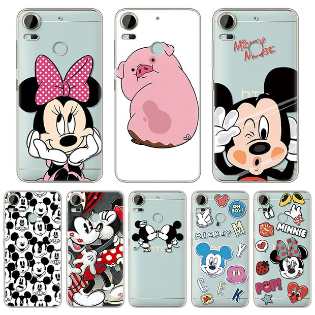 Soft TPU Cover Cases For Coque HTC Desire 10 Pro Case Minnie Mickey Couple Gifts Protection Patterned Silicone Back Capa Fundas