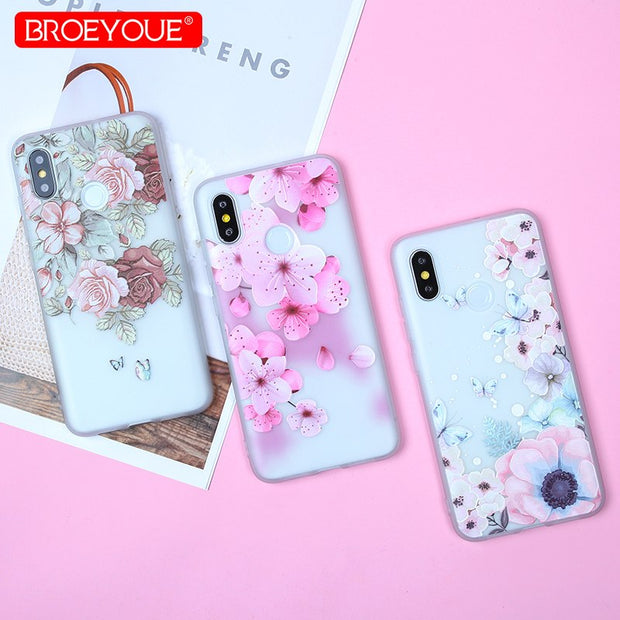 Soft TPU Phone Case For Xiaomi Mi 8 SE 5X Redmi 4X 4A 5 5A 3D Relief Floral Leaves Covers For Redmi 6 Pro S2 Note 4 4X 5 Pro 5A