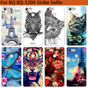 Soft Tpu Phone Case For BQ BQ-5204 Strike Selfie Cover Silicone Painted Tiger Owl Rose Towers Fundas Sheer For BQ 5204 Cases