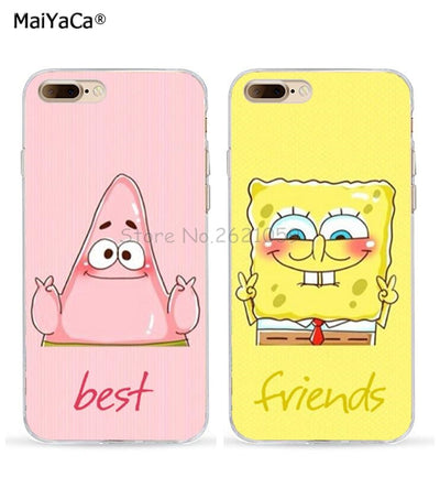 Spongebob And Patrick Best Friends Love Pair Soft TPU Case For Iphone 5s Se 6s 6plus 6splus 7 7plus 8 8plus X XR XS MAX BFF Case