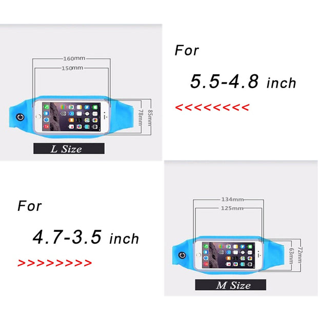 Sports Waist Phone Case 4.7inch Universal Phone Bag Cover For IPhone 6 6s 5s 4s For Zte Blade X7 X3 Axon 7 Outdoor Running Case