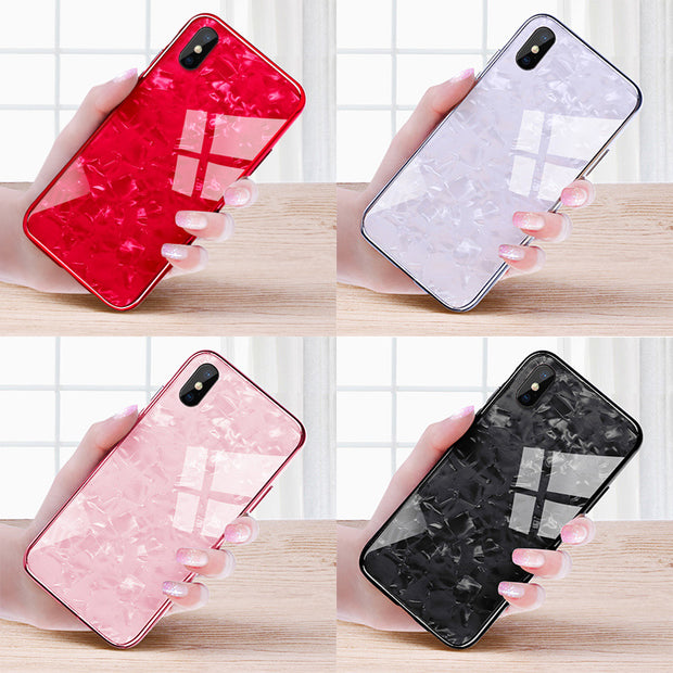 Suntaiho Back Tempered Glass For IPhone X Case For IPhone 6s For IPhone 7 Case For IPhone 8 Case Soft TPU Marble Glass Film Back