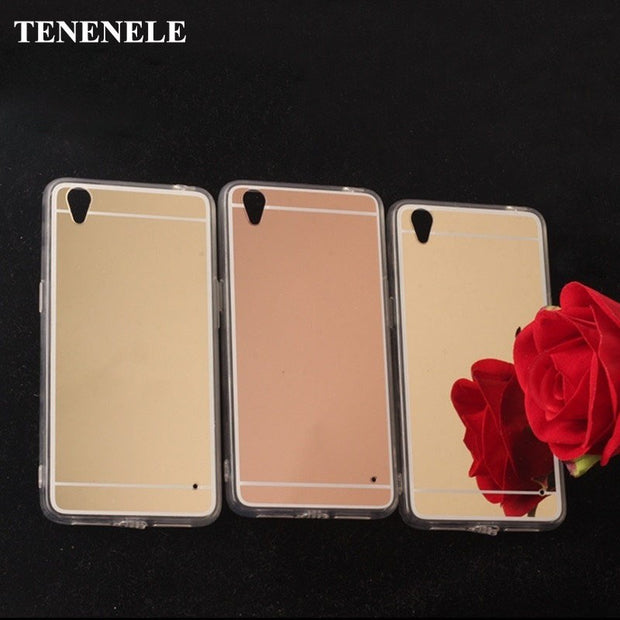 TENENELE Fashion Silicone Soft Case For OPPO A37 Luxury Mirror Cover Make UP Coque Fundas Back Phone Capa For OPPO A37 Case