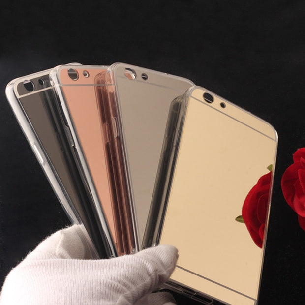 TENENELE Fashion Silicone Soft Case For OPPO A59 F1S Luxury Mirror Cover Make UP Coque Fundas Phone Capa For OPPO A59 F1S Case