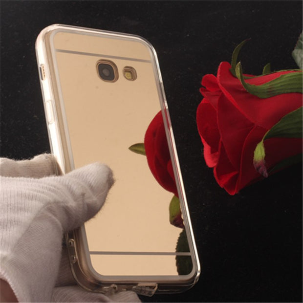 TENENELE Fashion Silicone Soft Case For Samsung Galaxy A3 2017 Mirror Cover Make UP Coque Fundas Capa For Samsung A32017 Cases