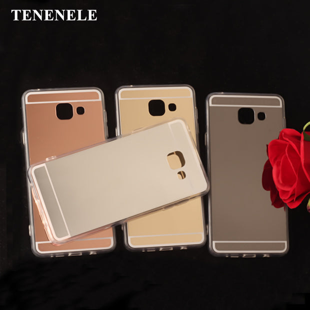 TENENELE Fashion Silicone Soft Case For Samsung Galaxy A7 2016 Mirror Cover Make UP Coque Fundas Capa For Samsung A7 2016 Cases