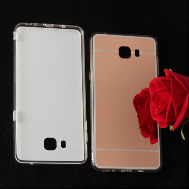 TENENELE Fashion Silicone Soft Case For Samsung Galaxy C9 Pro Mirror Cover Make UP Coque Fundas Capa For Samsung C9 C9Pro Cases
