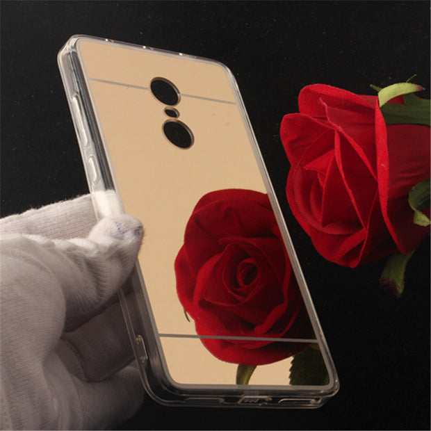 TENENELE Fashion Silicone Soft Case For Xiaomi Redmi Note 4 Mirror Cover Make UP Coque Fundas Phone Capa For Redmi Note4 Cases
