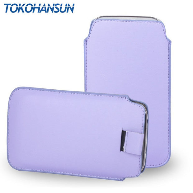 TOKOHANSUN Universal Case For Nokia E72 515 301 3310 13 Color PU Leather Pouch Cover Bag Case Phone Cases With Pull Out Function