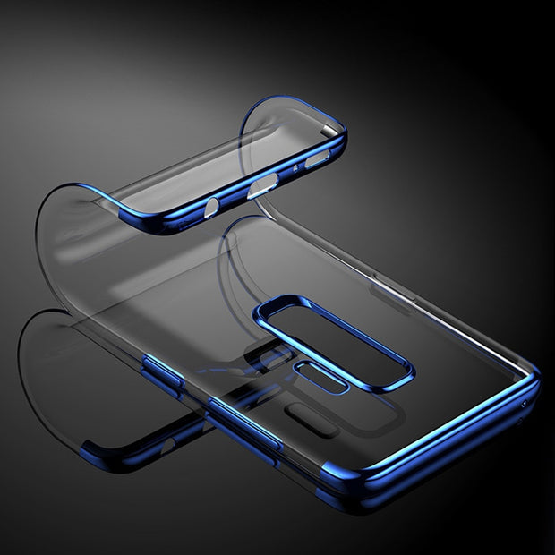 Transparent Plating Ultra Thin Soft TPU Cover For Samsung Galaxy A3 J5 A7 2016 J3 A5 J7 2017 Pro A8 2018 S7 Edge S8 S9 Plus Case