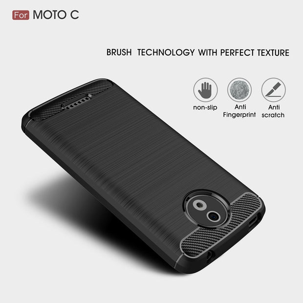 UVR Case For Motorola MOTO C Case 5.0 Inch Carbon Fibre Brushed Soft TPU Silicone Shockproof Phone Cover For MOTO C Plus