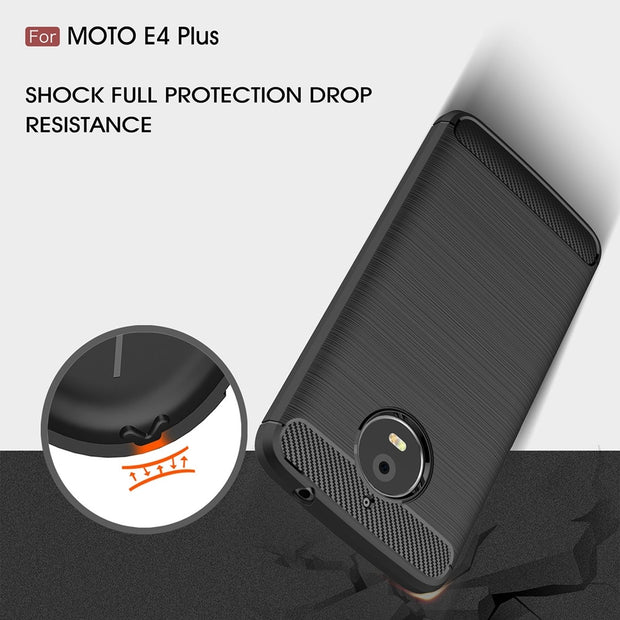 UVR For Motorola MOTO E4 Plus Case 5.5 Inch Carbon Fibre Brushed Soft TPU Silicone Phone Cover For MOTO E4Plus Cover