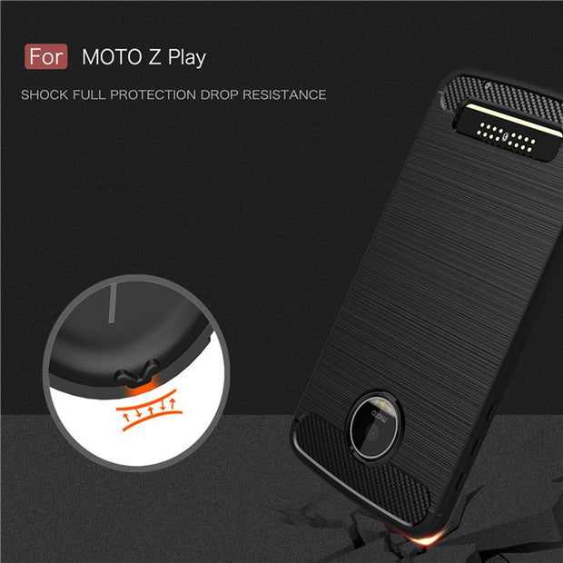 UVR For Motorola Moto Z Case Carbon Fiber Phone Cases For Motorola Z Play Cover Soft Back Phone Bags Rubben Texture ZPlay