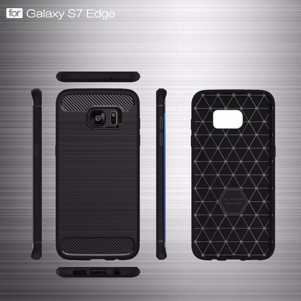 UVR For Samsung S7 Case Carbon Fiber Texture Brushed Silicone Cases For Samsung Galaxy S7 Edge Cover Soft Back Phone Bags