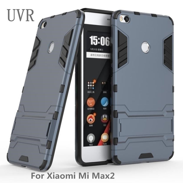 UVR For Xiaomi Mi Max 2 Case 6.44 Inch Mobile Phone Cases PC PU Hybrid Rubber For Xiaomi Max2 Cover Housing Accessories