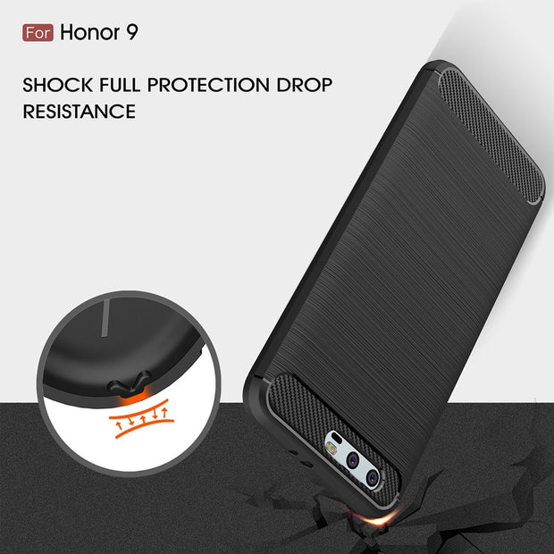 UVR Phone Cases For Huawei Honor9 Case Environmental Carbon Fiber Soft TPU Brushed Anti-knock Back For Honor 9 Cover