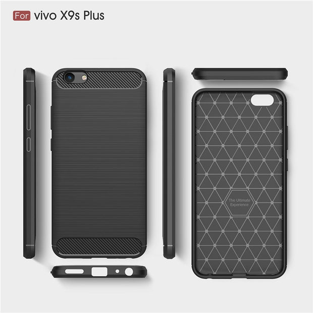 UVR Phone Cases For VIVO X9S Plus Case Carbon Fiber Soft TPU Brushed Anti-Skid Anti-knock Back Cover For VIVO X9 Plus Cover