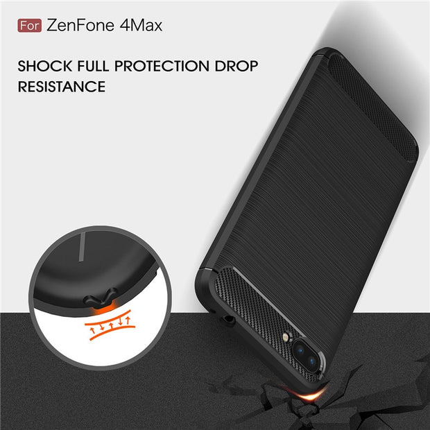 UVR Phone Cases For Zenfone 4 Max ZC554KL Carbon Fibre Brushed Soft TPU Silicone Shockproof Back Cover For ASUS ZC554KL Cover