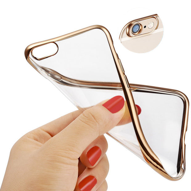 Ultra Thin Gold Plating Crystal Clear BackCover For IPhone 6 6s Case 6 7 Plus 5 5S Transparent Tpu Soft Cover For IPhone X Case