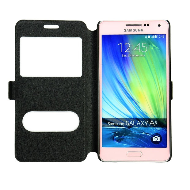 Ultra Thin PU Flip Leather Cover With Dual View Window For Samsung Galaxy A5