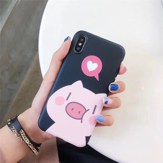 VBNM Cute Cartoon Couple Pig Phone Case For IPhone XS Max XR X Case For Iphone 7 Plus 6s 6 8 Plus Cover Soft Silicone Matte Case