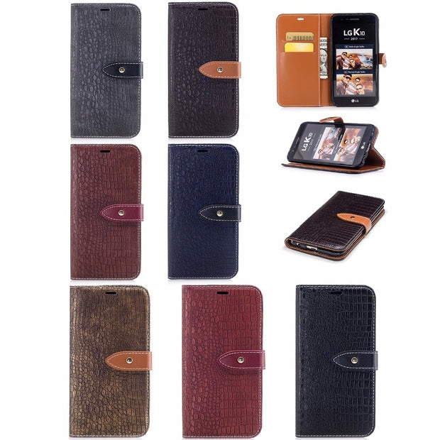 Wallet Case For Capa LG K10 2017 Filp Cover Stand Card Slots Crocodile Pattern PU Leather Luxury Mobile Phone Bags Cases