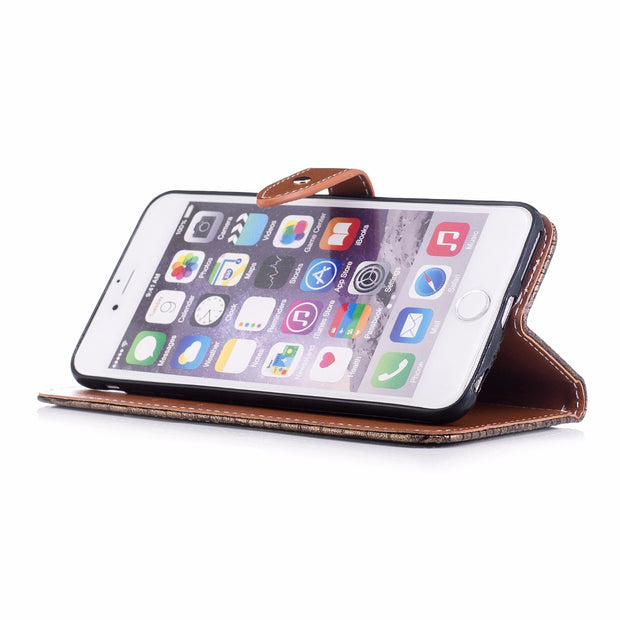 Wallet Case For Capa IPhone 6 Plus 6S Plus Filp Cover Stand Card Slots Crocodile Pattern Leather Luxury Mobile Phone Bags Cases