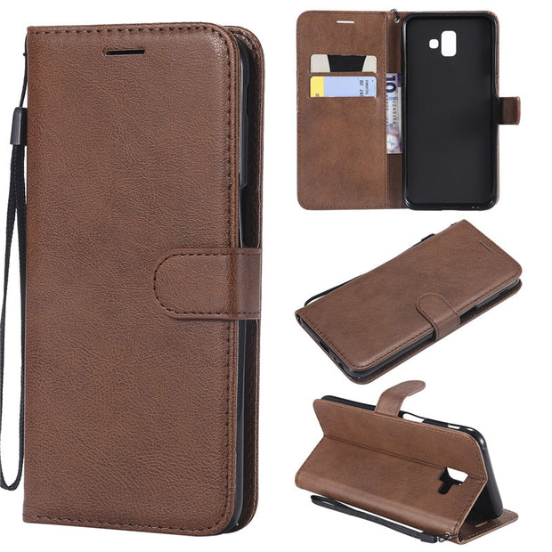 new products 2ea64 1475d Wallet Case For Samsung Galaxy J6 Prime/J6 Plus Flip Back Cover Pure Color  PU Leather Mobile Phone Bags Coque Fundas