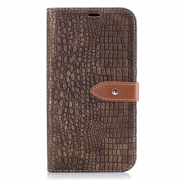 Wallet Case For Funda Samsung Galaxy J720 J7 2017 Filp Cover Stand Card Slots Crocodile Pattern Leather Mobile Phone Bags Cases