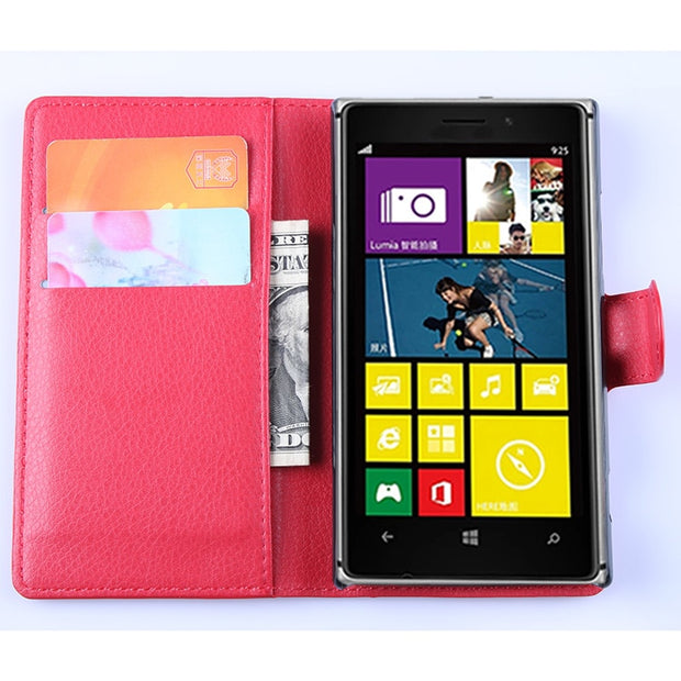 Wallet Flip Leather Case For Nokia Lumia 925 (N925 925T RM-893) 4.5-inch Leather Back Cover Case With Stand Etui Coque Funda>